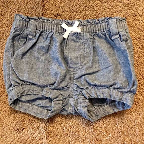 Carters Baby Girls Pull-on Stripe Shorts with Blue Bow-3 Months